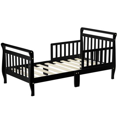 Toddler Sleigh Bed with Safety Rails Color: Black
