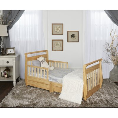 Toddler Sleigh Bed with Storage Color: Natural