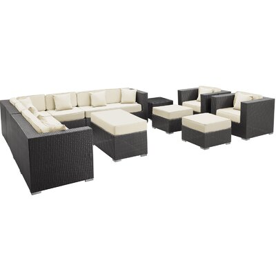 Coherence 11 Piece Outdoor Patio Sectional Set Fabric: Light Blue, Finish: Espresso