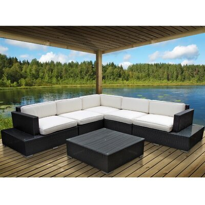 Port 6 Piece Outdoor Patio Sectional Set Finish: Espresso, Fabric: Mocha