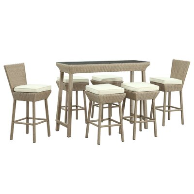 Napa Outdoor 7 Piece Bar Set with Cushions Finish: Oatmeal, Fabric: White