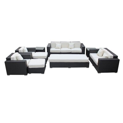 Eclipse 9 Piece Deep Seating Group with Cushions Finish: Espresso, Fabric: White