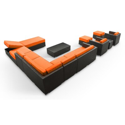 Fusion 12 Piece Sectional Deep Seating Group with Cushions Fabric: Orange, Finish: Espresso