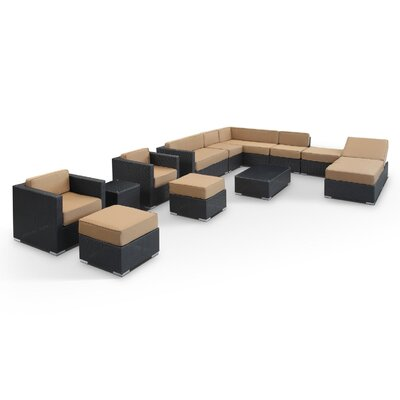 Fusion 12 Piece Sectional Deep Seating Group with Cushions Fabric: Mocha, Finish: Espresso