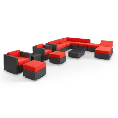 Fusion 12 Piece Sectional Deep Seating Group with Cushions Fabric: Red, Finish: Espresso