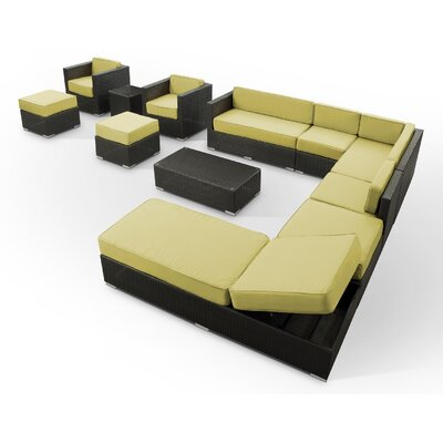 Fusion 12 Piece Sectional Deep Seating Group with Cushions Fabric: Peridot, Finish: Espresso