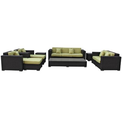Eclipse 9 Piece Deep Seating Group with Cushions Finish: Espresso, Fabric: Peridot