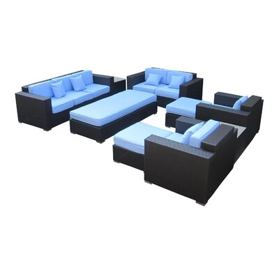 Eclipse 9 Piece Deep Seating Group with Cushions Finish: Espresso, Fabric: Light Blue