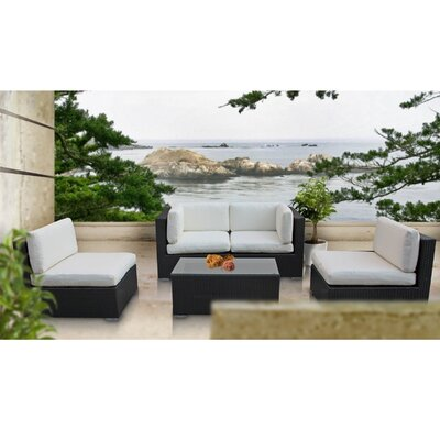 Delight 5 Piece Outdoor Patio Sectional Set Fabric: White