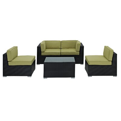 Delight 5 Piece Outdoor Patio Sectional Set Fabric: Peridot