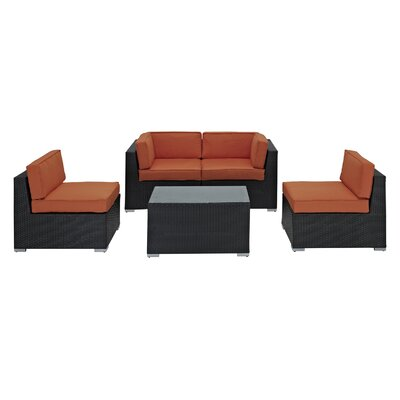 Delight 5 Piece Outdoor Patio Sectional Set Fabric: Orange