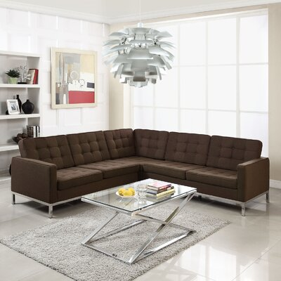 Gayatri L-Shaped Sectional Upholstery: Chocolate