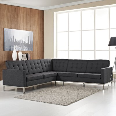 Gayatri L-Shaped Sectional Upholstery: Dark Gray