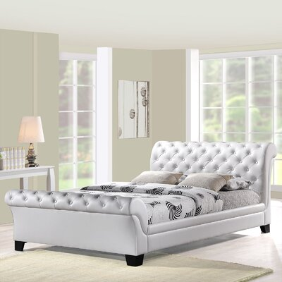Queen Upholstered Sleigh Bed Upholstery: White