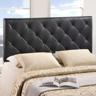 Theodore Queen Upholstered Panel Headboard Upholstery: Black