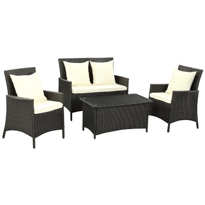Flourish 4 Piece Seating Group with Cushion Fabric: White
