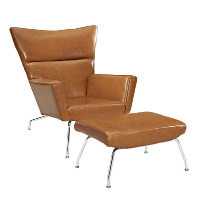 Class Leather Lounge Chair and Ottoman Color: Tan
