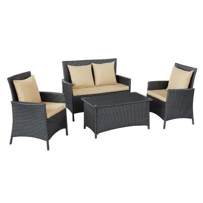 Flourish 4 Piece Seating Group with Cushion Fabric: Mocha
