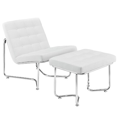 Gibraltar Lounge Chair and Ottoman Set Color: White
