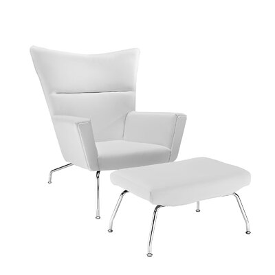 Class Leather Lounge Chair and Ottoman Upholstery: White