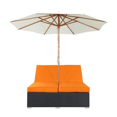 Arrival Double Chaise Lounge with Cushion Fabric: Orange