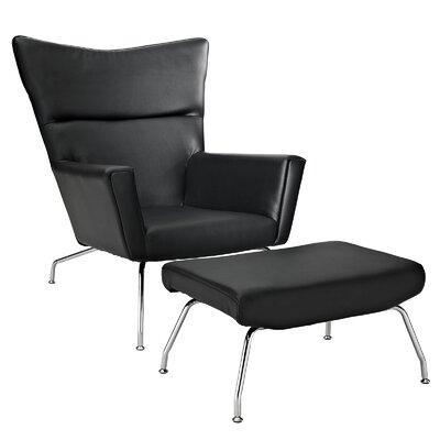 Class Leather Arm Chair And Ottoman Color: Black