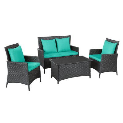 Flourish 4 Piece Seating Group with Cushion Fabric: Turquoise