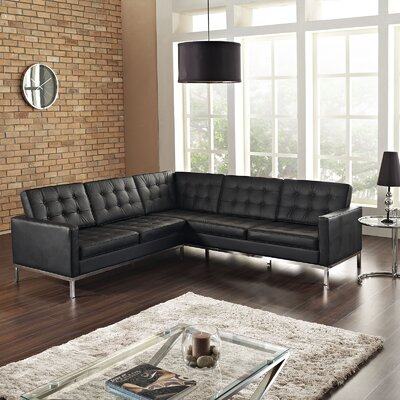 Gayatri Leather Sectional Upholstery: Black