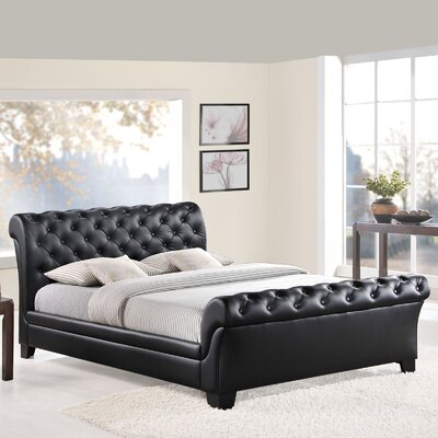 Queen Upholstered Sleigh Bed Color: Black