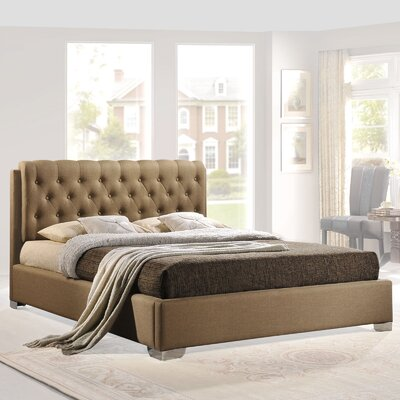 Queen Upholstered Platform Bed Color: Latte