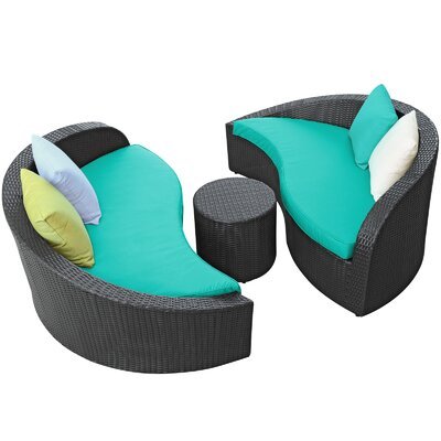Magatama Lounge Seating Group Cushions Fabric Turquoise picture