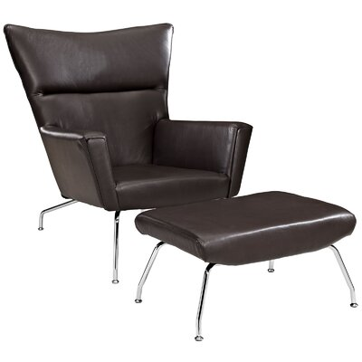 Class Leather Lounge Chair and Ottoman Color: Dark Brown