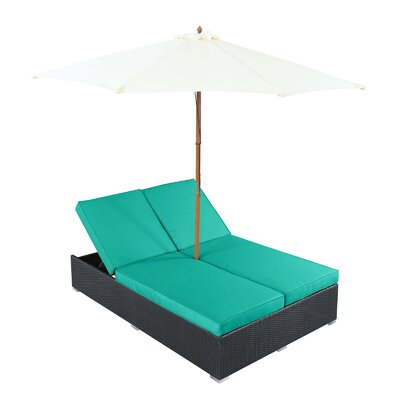 Arrival Double Chaise Lounge with Cushion Fabric: Turquoise
