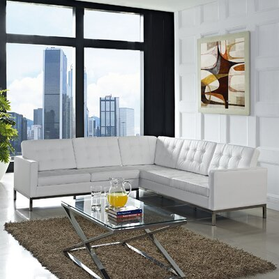 Gayatri Leather Sectional Upholstery: White