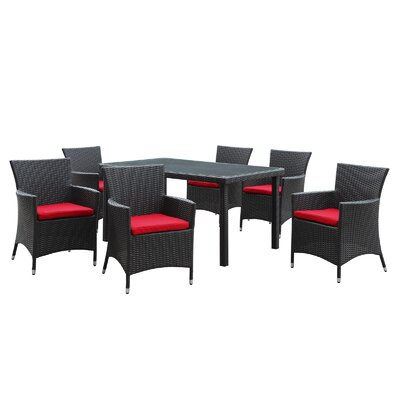 Deco 7 Piece Dining Set with Cushions Fabric: Red