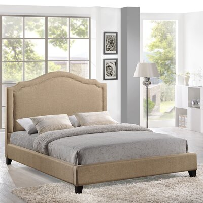 Queen Upholstered Platform Bed Color: Beige