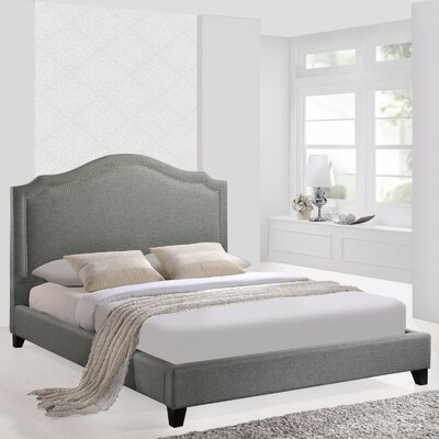 Queen Upholstered Platform Bed Color: Gray