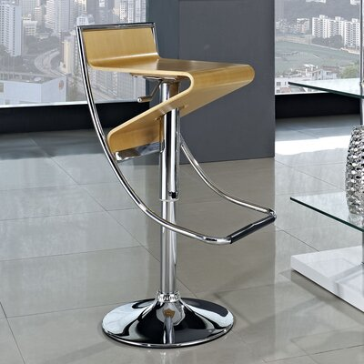Zig-Zag Adjustable Height Swivel Bar Stool Upholstery: Natural