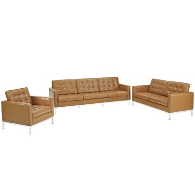 Gayatri 3 Piece Leather Living Room Set