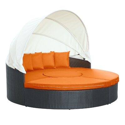 Quest Canopy Daybed Seating Group with Cushions Fabric: Orange