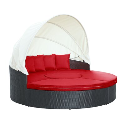 Quest Canopy Daybed Seating Group with Cushions Fabric: Red