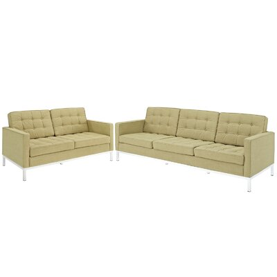 Gayatri 2 Piece Loveseat and Sofa Set Upholstery: Green