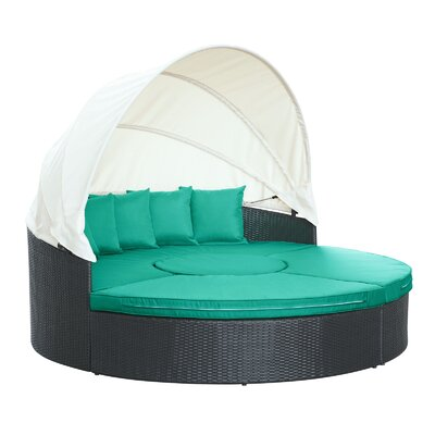 Quest Canopy Daybed Seating Group with Cushions Fabric: Turquoise