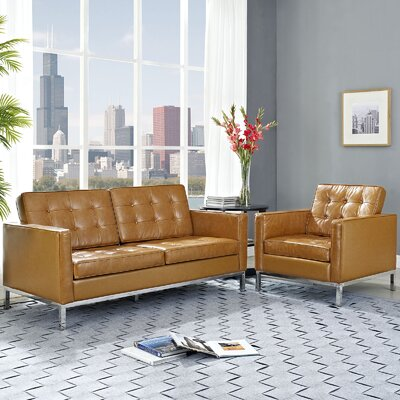 Gayatri 2 Piece Leather Living Room Set