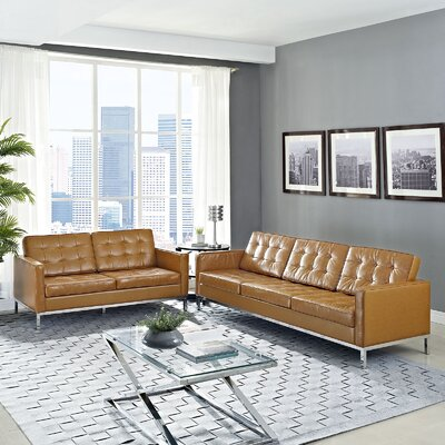 Gayatri 2 Piece Leather Loveseat and Sofa Set
