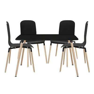 Stack Wood 5 Piece Dining Set Color: Black