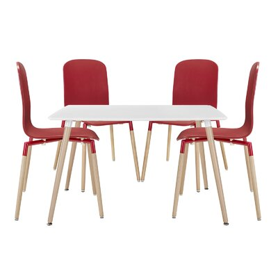 Stack Wood 5 Piece Dining Set Finish: Red