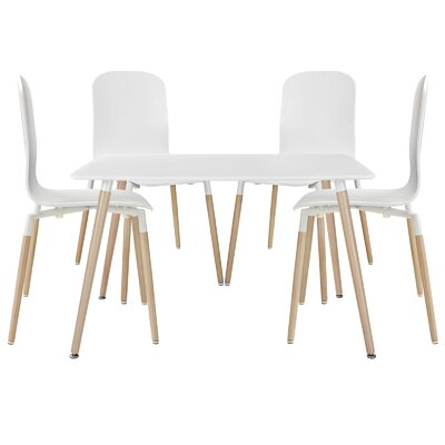 Stack Wood 5 Piece Dining Set Finish: White