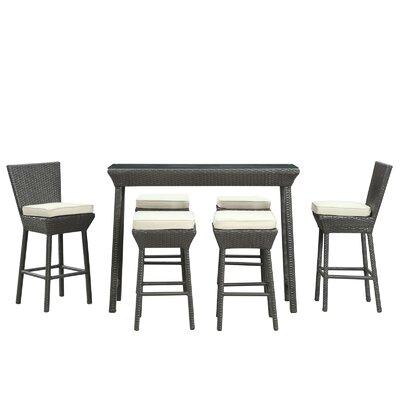 Napa Outdoor 7 Piece Bar Set with Cushions Fabric: White, Finish: Espresso
