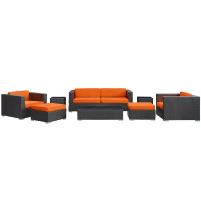 Venice 8 Piece Deep Seating Group with Cushions Finish: Espresso, Fabric: Orange